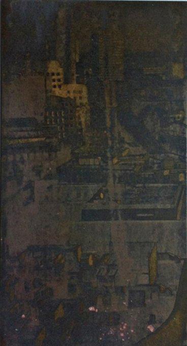 Ausblick II, 2011, 21 x 10 cm, Messing geätzt, Tiefdruckfarbe